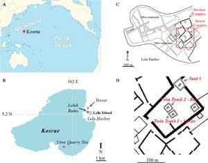 mapa de pirámides de coral en Micronesia