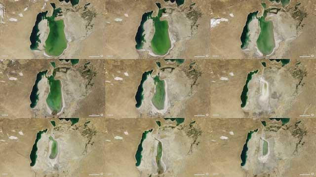 evolución de la desecación del Mar de Aral