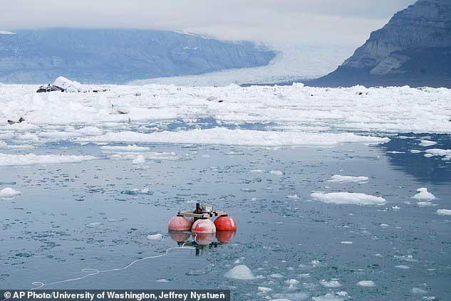 micrófonos submarinos para medir sonido del hielo