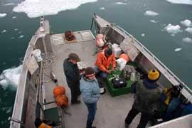 preparando micrófonos submarinos
