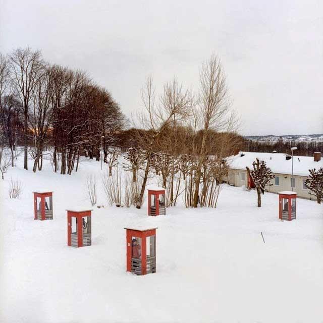 prisión Bastøy, Noruega - cabinas de teléfono