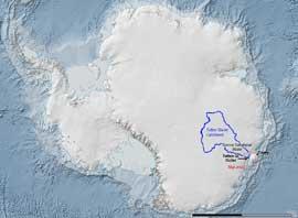 situación del Glaciar Totten en la Antártida