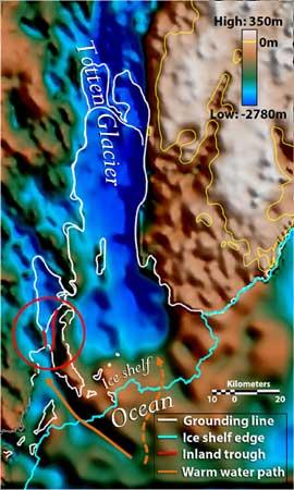 valles marinos bajo el Glaciar Totten en la Antártida