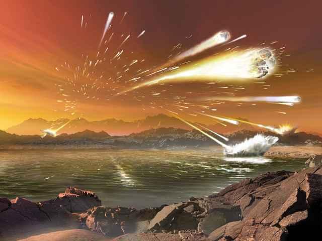bombardeo intenso de meteoritos sobre la Tierra