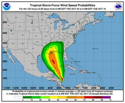 trayectoria del huracán Nate