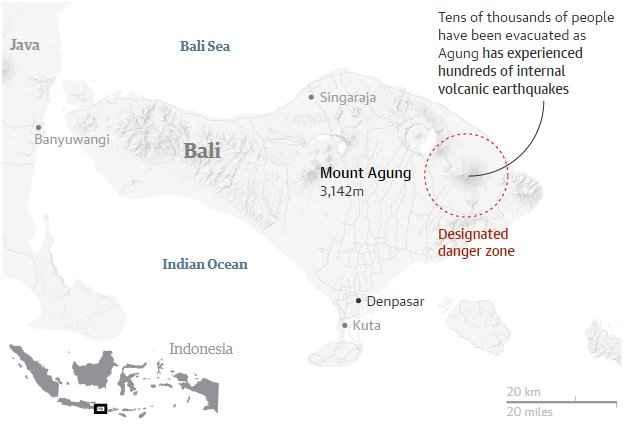 mapa de situación del Monte Agung, Bali, Indonesia