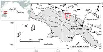 mapa de situación de Papua Nueva Guinea