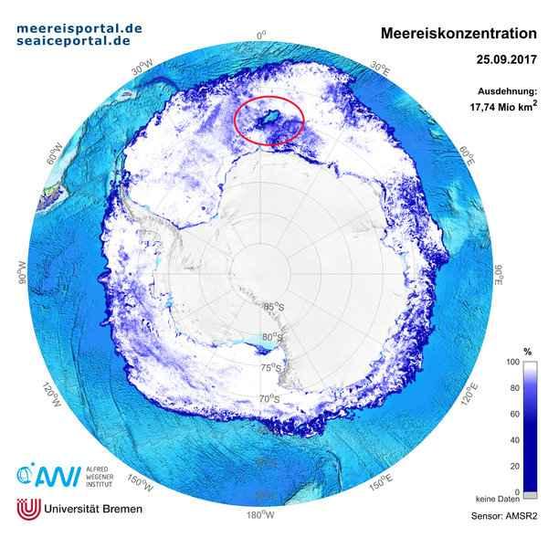 mapa de la polinia en el Mar de Weddell
