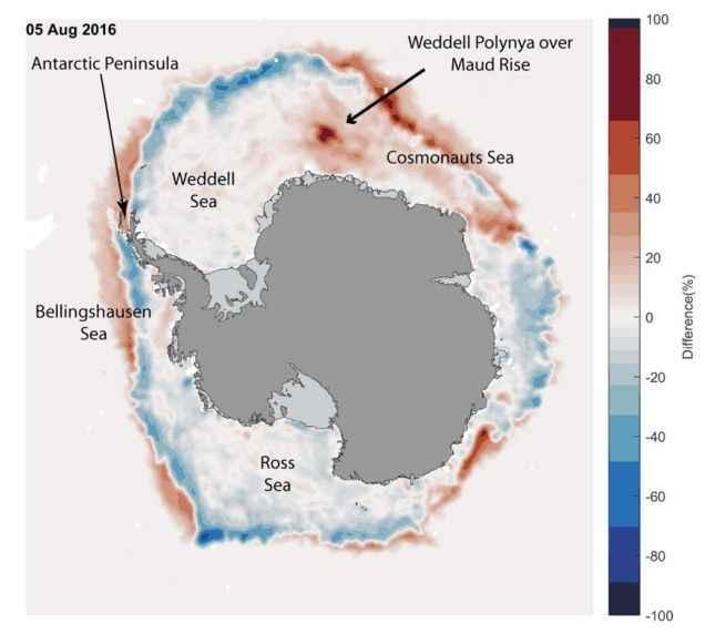 polinia en el Mar de Weddell, temperaturas