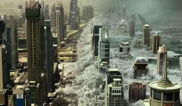 tsunami en la película Geostorm