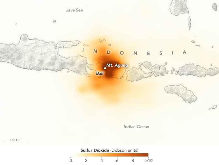emisión de dióxido de azufre en el volcán Agung