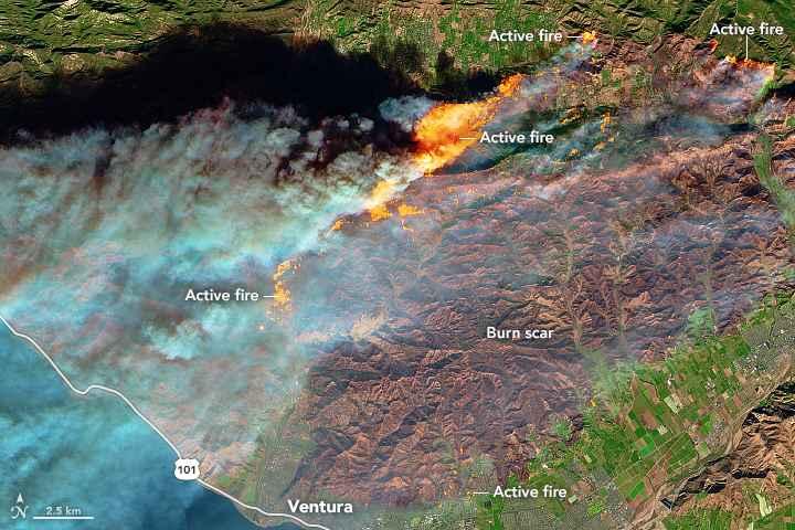 incendios en el sur de California desde satélite