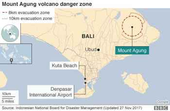mapa de situación del volcán Agung, Bali