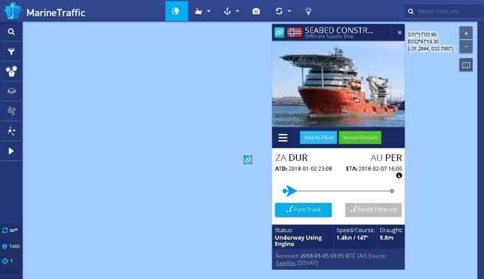 Seabed Constructor en Marine Traffic