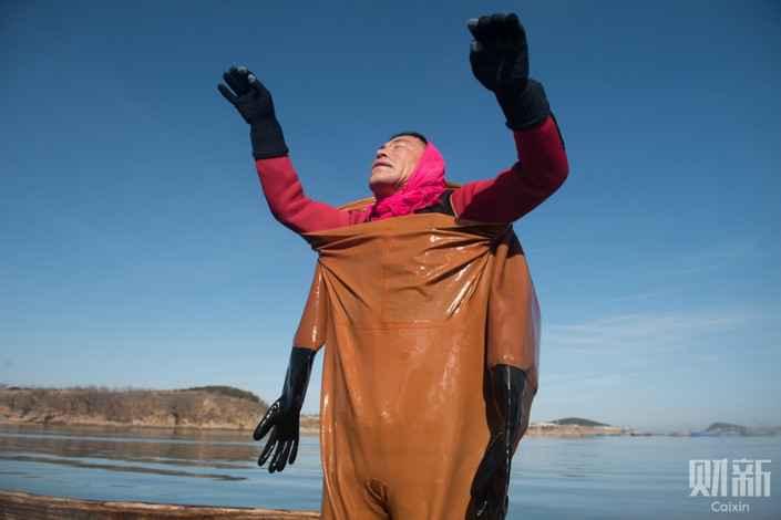 buceador de pepinos mar de China