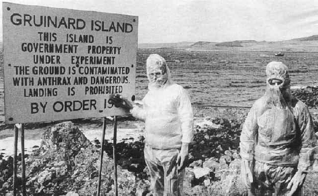 cartel de aviso de ántrax en Gruinard island