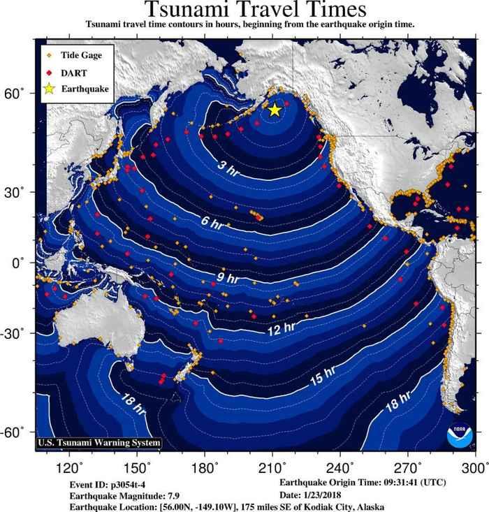 desplazamiento olas tsunami de Alaska