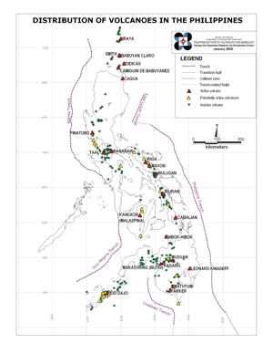 distribución volcanes en Filipinas