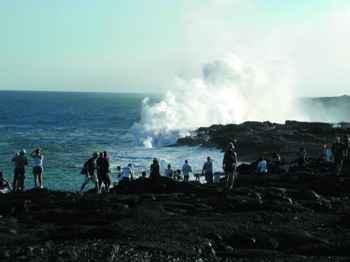 entrada de lava en el mar en Hawái