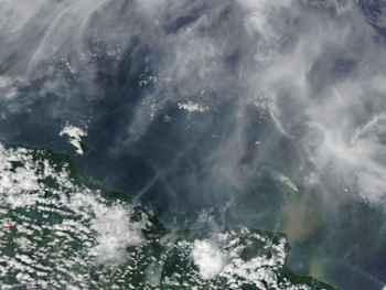 erupción del volcán Kadovar, NASA