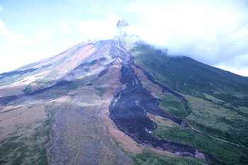 lahar en el volcán Mayon