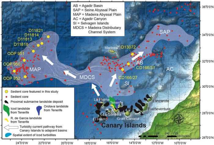 mapa de deslizamientos de tierra en las Islas Canarias