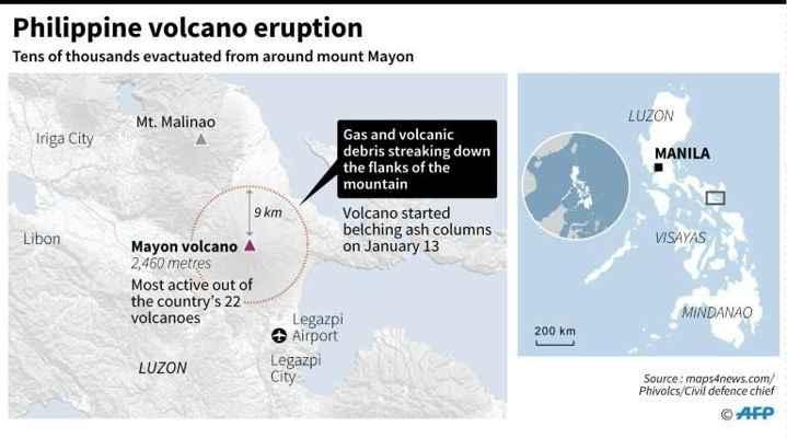 mapa de situación del volcán Mayon en Filipinas