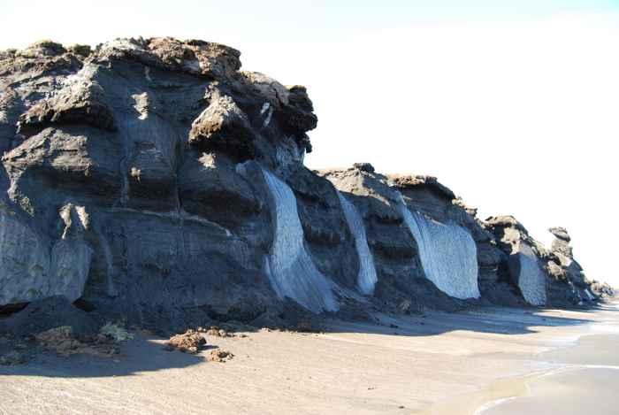 permafrost en la costa del Ártico