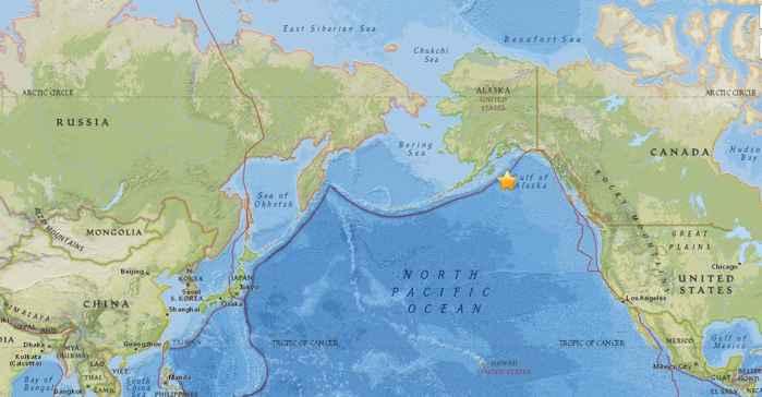 terremoto en el Golfo de Alaska