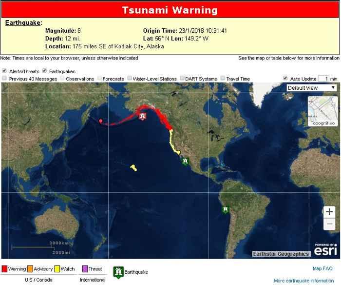 zonas de peligro de tsunami en costa oeste América