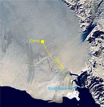 campamento en la plataforma de Ross, mapa