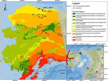 mapa del mercurio estudiado en el permafrost