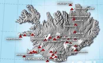 mapa de volcanes de Islandia