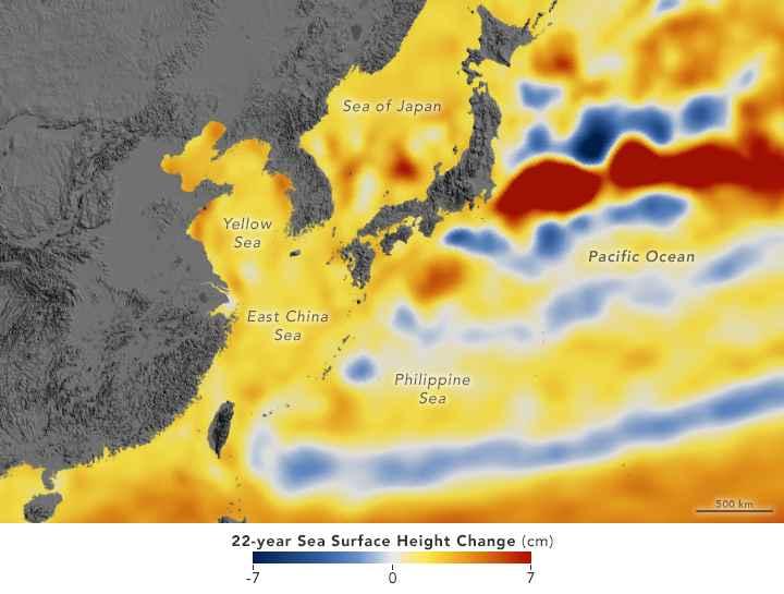 subida del nivel del mar entre 1992-2014 en el Mar del Sur de China