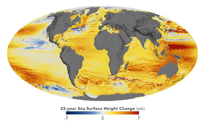subida del nivel del mar entre 1992-2014