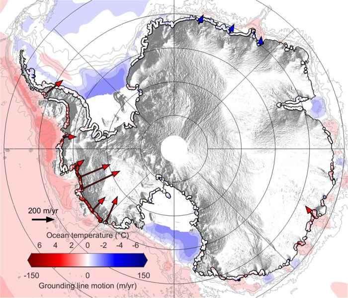 retroceso de la línea de tierra de la Antártida