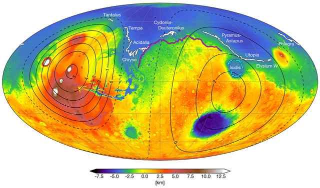 líneas de costa en Marte
