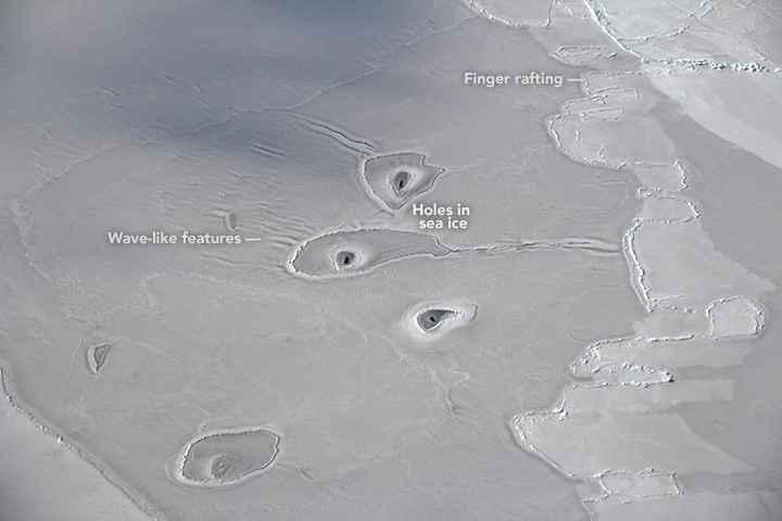 agujeros en el hielo marino de la Antártida