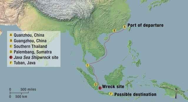 recorrido del barco de China del siglo XII
