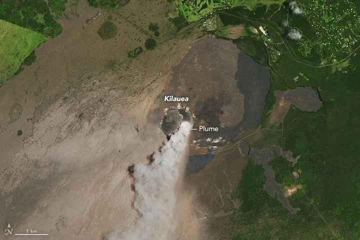 cráter del volcán kilauea desde satélite