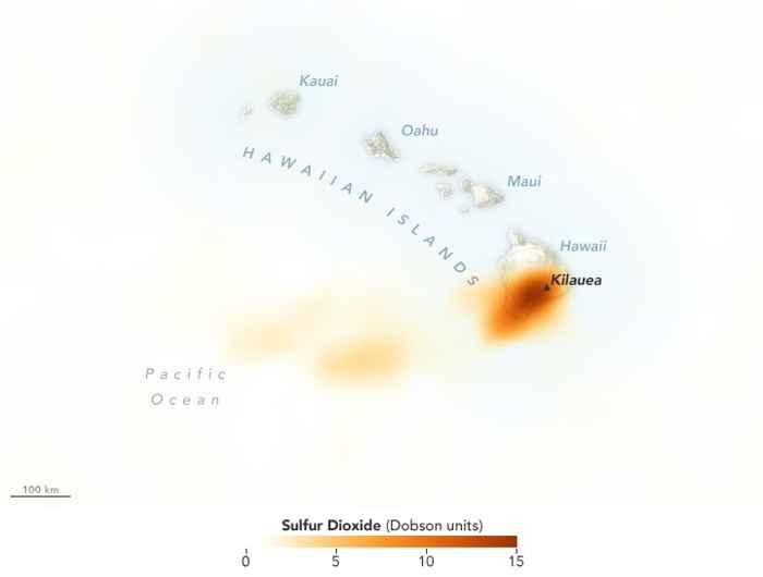 concentración de dióxido de azufre en el volcán Kilauea
