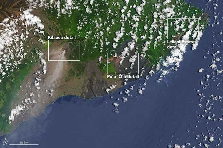erupción del volcán Kilauea desde satélite