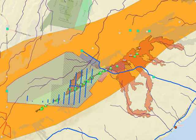 mapa de los flujos de lava del volcán Kilauea