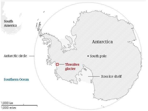 glaciar Thwaites en la Antártida