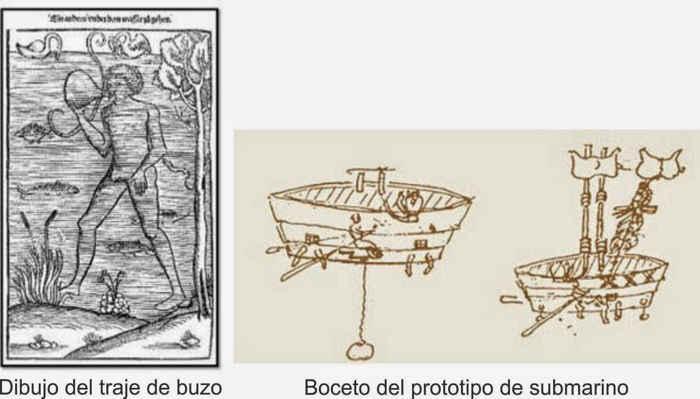 traje de buceo y submarino de Jerónimo de Ayanz