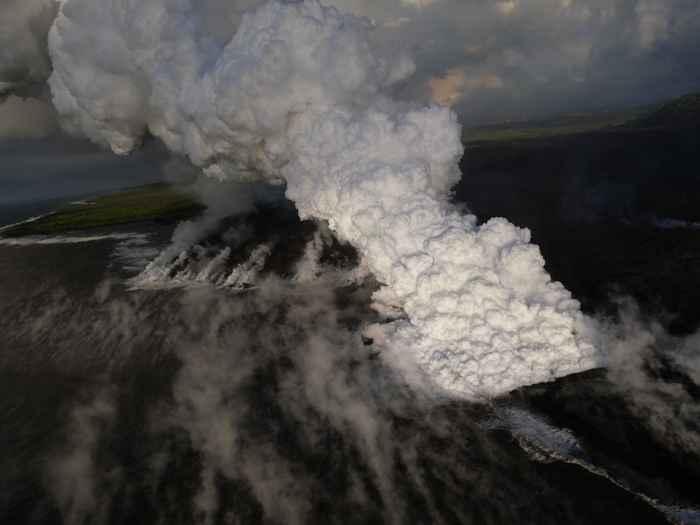 nube laze del Kilauea en la bahía de Kapoho