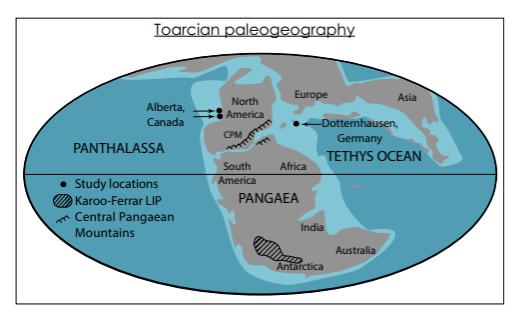 paleteogeología en el Toarcian