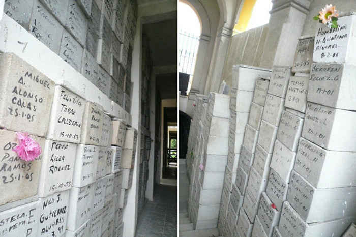 cajas con huesos en el cementerio Colón de la La Habana