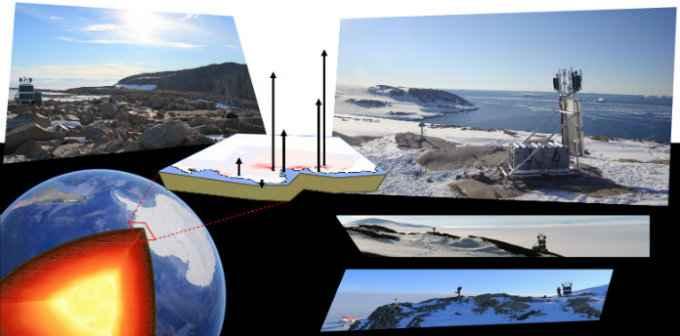 manto y superficie de la Antártida
