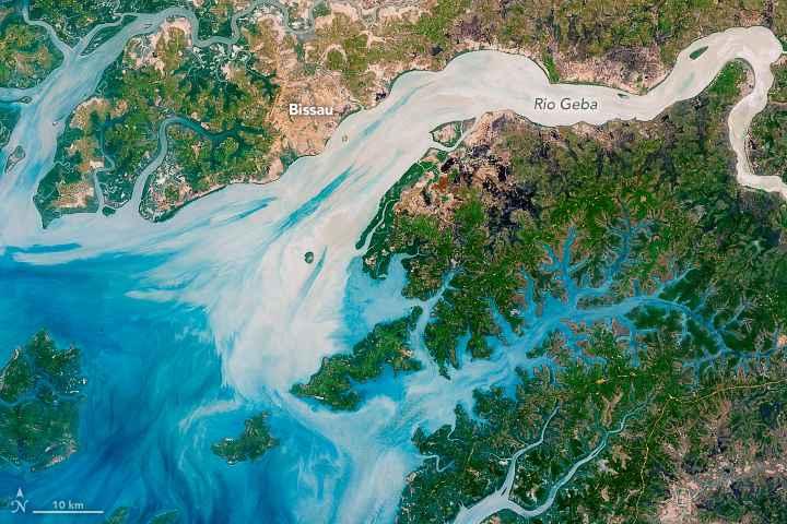 meandros en la costa de Guinea-Bissau